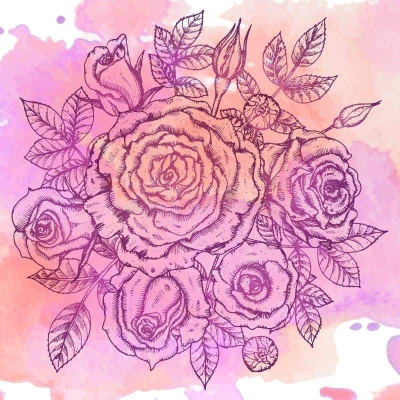 Ramo elegante del vintage con las flores gráficas (rosas) ilustración del vector