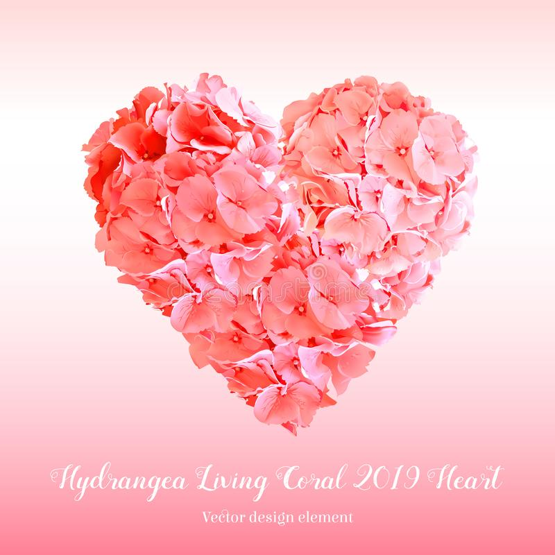 Ramo en forma de corazón del diseño del vector de las flores de la hortensia stock de ilustración