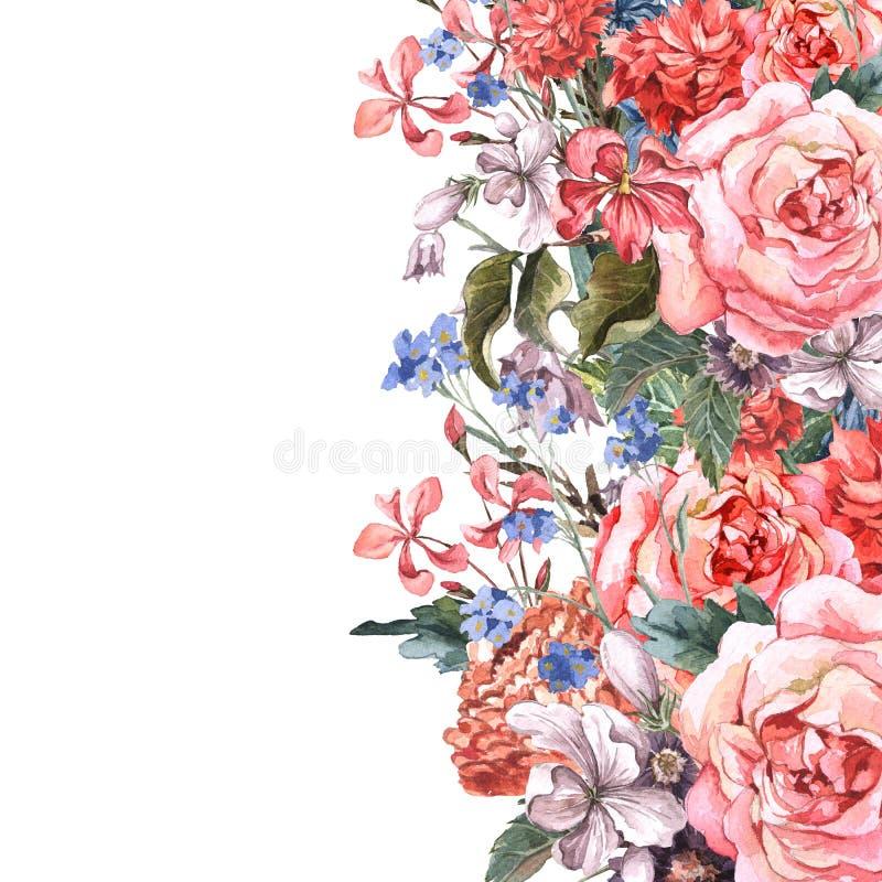 Ramo floral de la tarjeta de felicitación con las rosas libre illustration