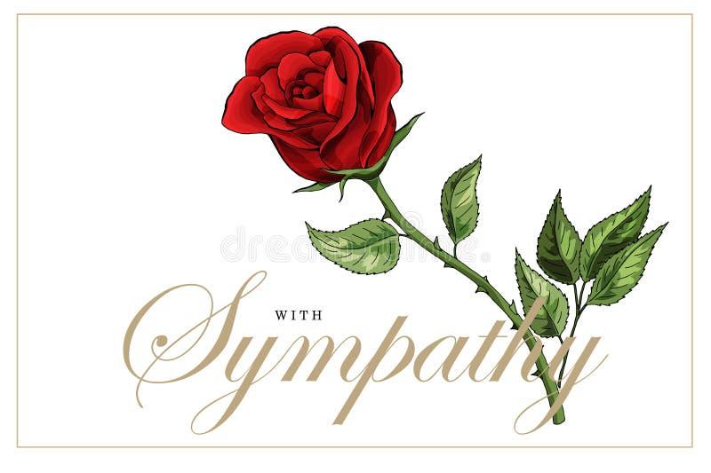 Ramo floral y el poner letras de las rosas rojas de la tarjeta de condolencia de las condolencias ilustración del vector