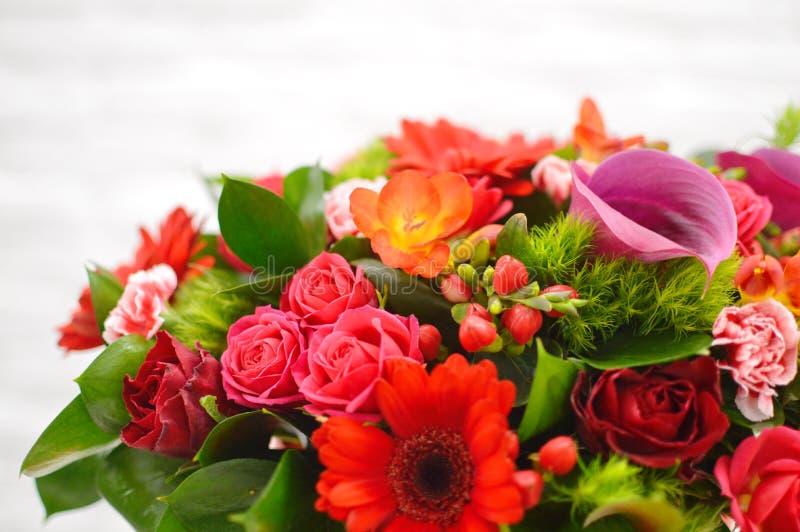Ramo hermoso de arbustos color de rosa imagenes de archivo