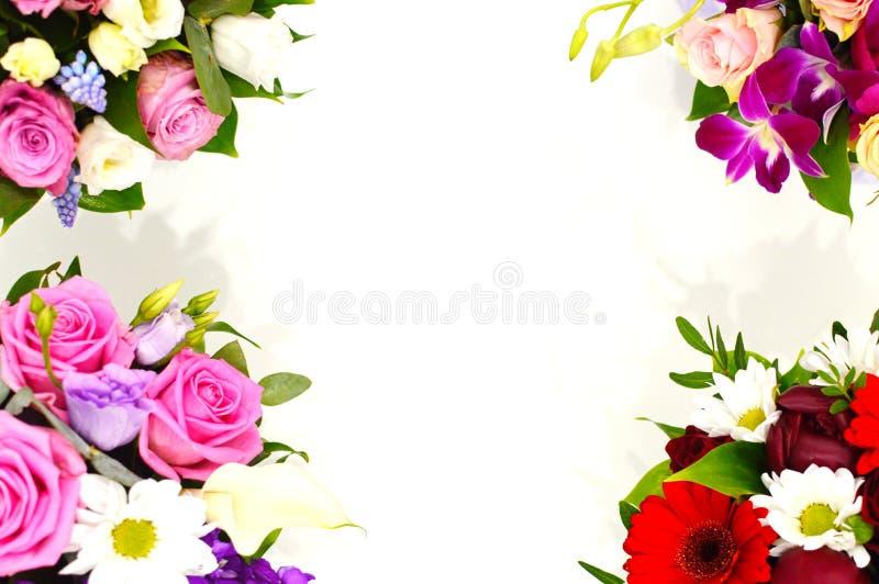Ramo hermoso de flores coloridas en un cierre blanco del fondo imágenes de archivo libres de regalías