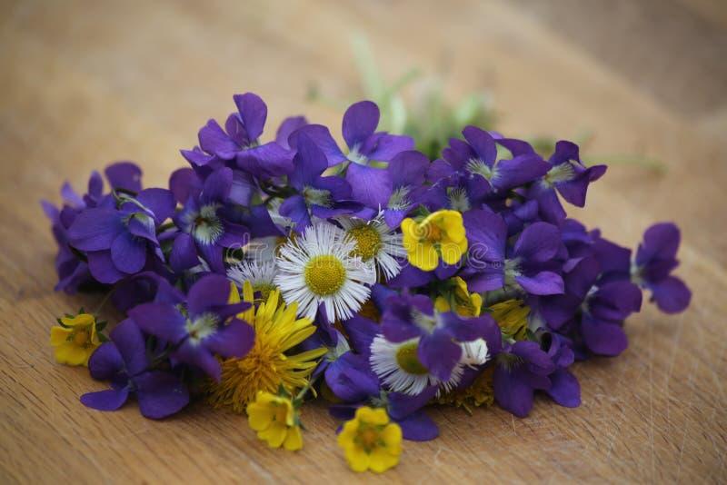 Ramo hermoso de flores salvajes imagenes de archivo