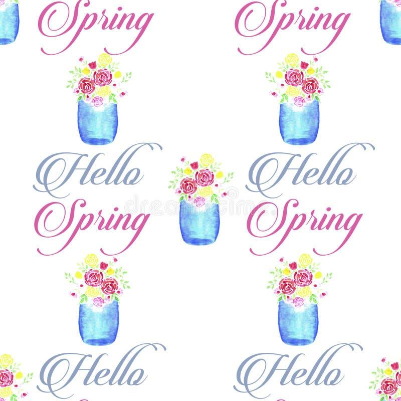 Ramo hermoso de la flor de la acuarela en un vidrio Mason Jar con hola la primavera ilustración del vector