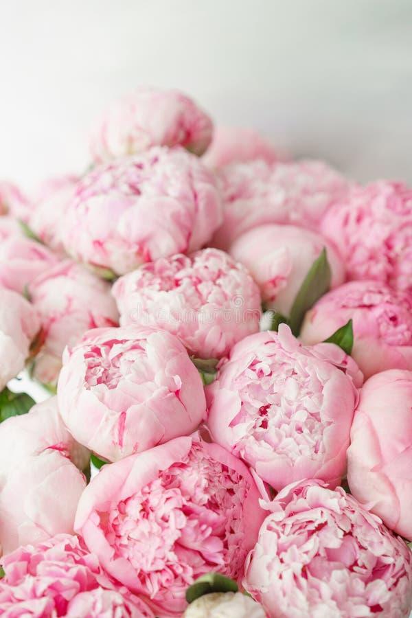 Ramo hermoso de peonías rosadas Composición floral, luz del día wallpaper Flores preciosas en el florero de cristal fotos de archivo libres de regalías