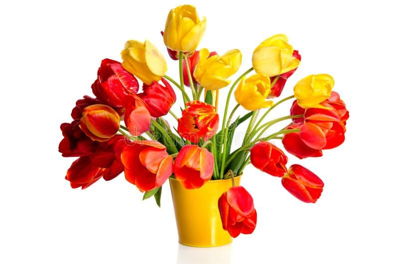 Ramo hermoso de tulipanes coloridos en pote amarillo fotos de archivo