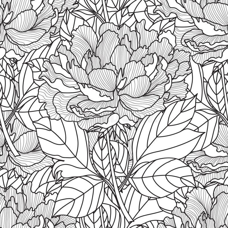 Ramo inconsútil de la peonía Vector Página del libro de colorear para los adultos Ilustraciones dibujadas mano libre illustration