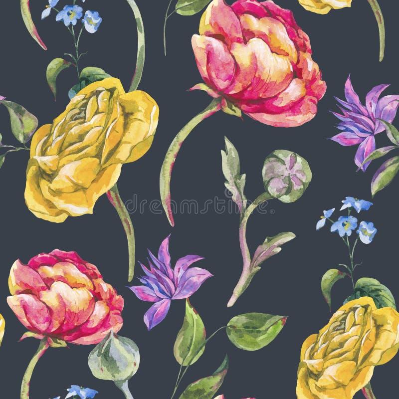 Ramo inconsútil floral del verano de la acuarela del modelo del vintage de la acuarela de ranúnculo y de Wildflowers ilustración del vector