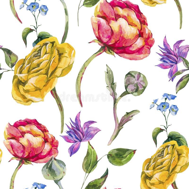 Ramo inconsútil floral del verano de la acuarela del modelo del vintage de la acuarela de ranúnculo y de Wildflowers stock de ilustración