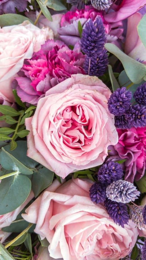 Ramo magn?fico de rosas y de claveles con las flores secadas decorativas fotografía de archivo