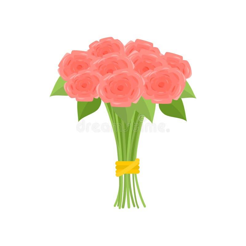 Ramo maravilloso de rosas rosadas atadas con la cinta amarilla en fondo vac?o stock de ilustración