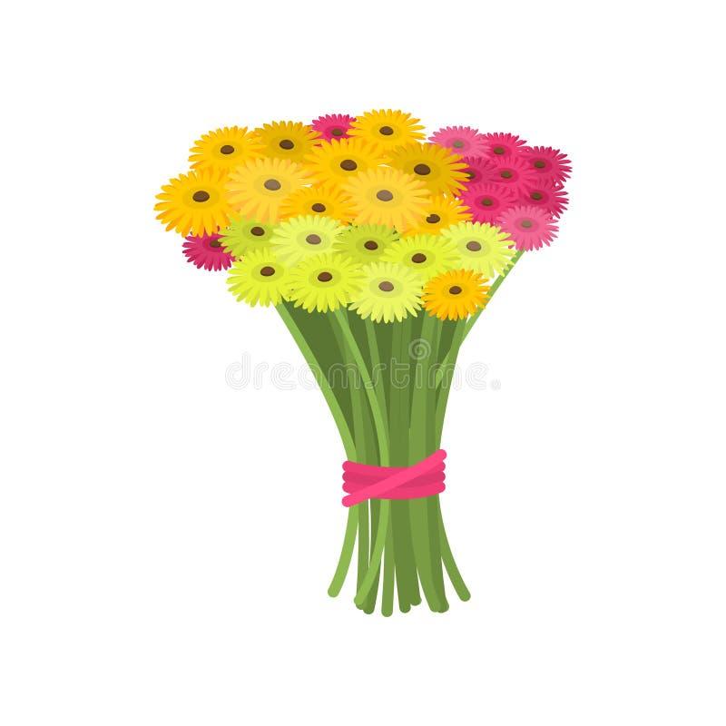 Ramo maravilloso grande de rosa y de gerberas amarillos atados con la cinta en fondo vac?o ilustración del vector