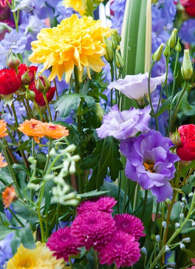 Ramo multicolor brillante de diversas flores imágenes de archivo libres de regalías