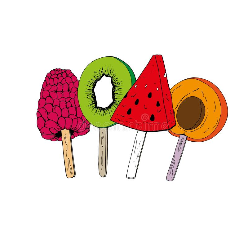 Ramo multicolor del 'ÑŒ del ‡ Ð°Ñ de ПÐ?Ñ de helado de la fruta en un palillo stock de ilustración