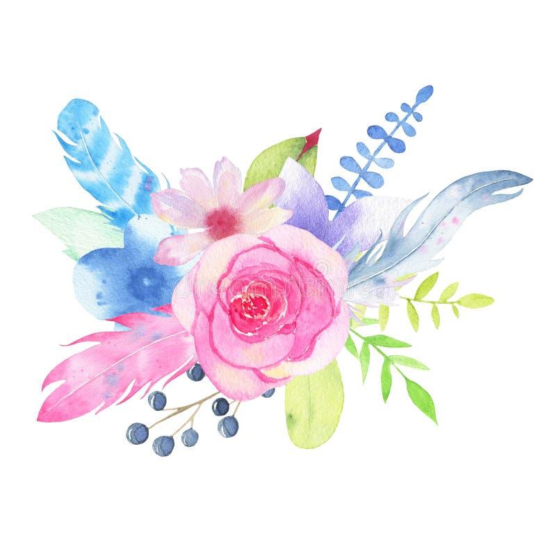 Ramo pintado a mano y hojas de la boda de la flor de la acuarela aislados en el fondo blanco stock de ilustración