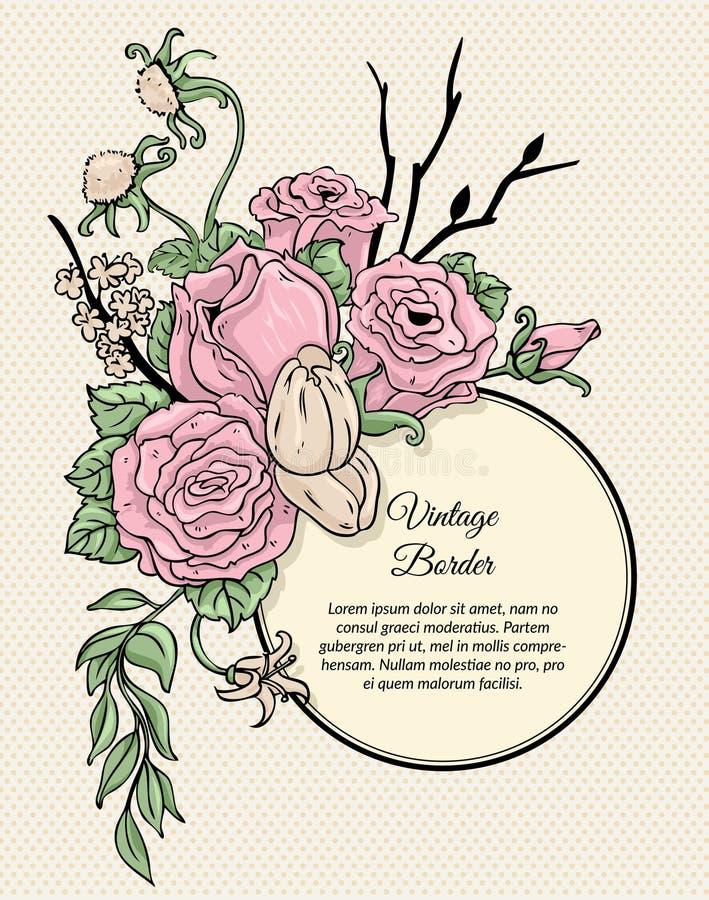 Ramo redondo de la frontera del vintage de flores ilustración del vector