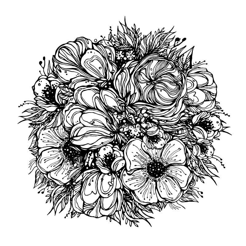 Ramo redondo de las flores, contornos gráficos negros en un fondo blanco Ejemplo del vector, elementos para el diseño ilustración del vector