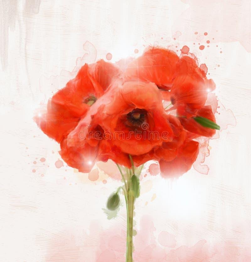 """Ramo rojo de las amapolas del †de las flores de la primavera y del verano """" imagen de archivo"""