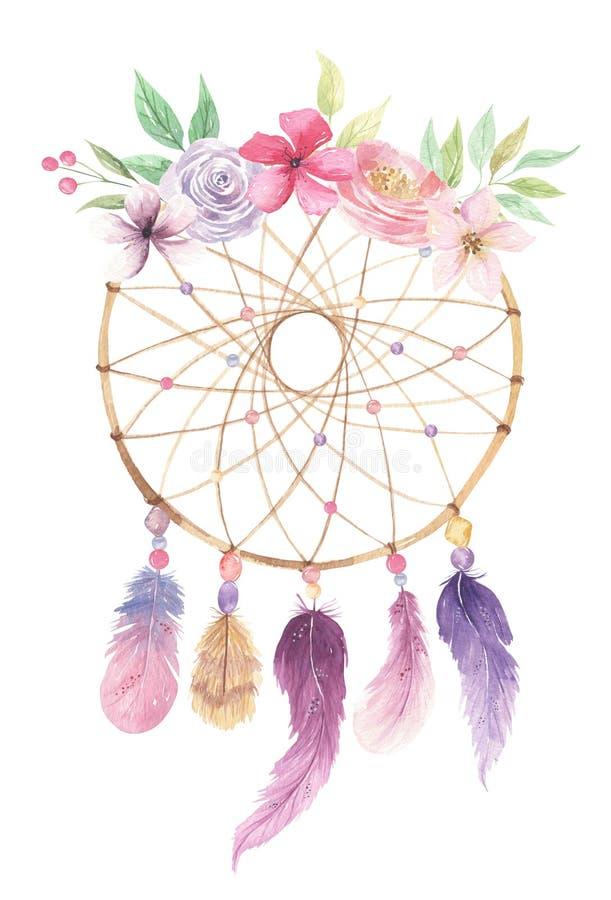 Ramo rosado de las hojas de las bayas de las plumas de las flores bohemias de Dreamcatcher de la acuarela ilustración del vector