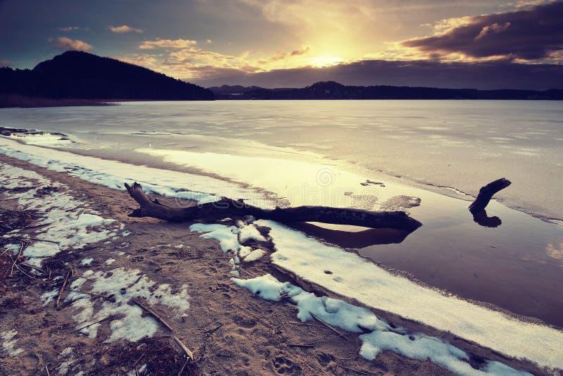 Ramo rotto traped in ghiaccio sul lago congelato Stagno in foresta nevosa, fine su Crepe congelate di nad delle bolle in copertur fotografia stock libera da diritti