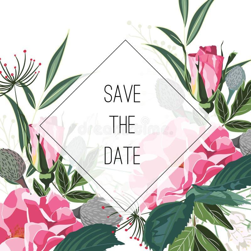 Ramo salvaje rosado de las flores y de las hierbas de las rosas, plantilla elegante de la tarjeta El cartel floral, invita libre illustration