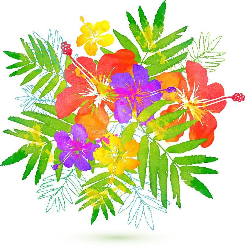 Ramo tropical brillante del verano del vector de las flores stock de ilustración