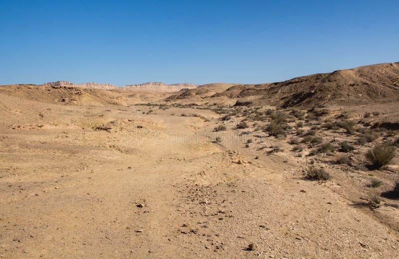 Ramon Crater, desierto del Néguev de Ardonn del lecho de un río seco imagenes de archivo
