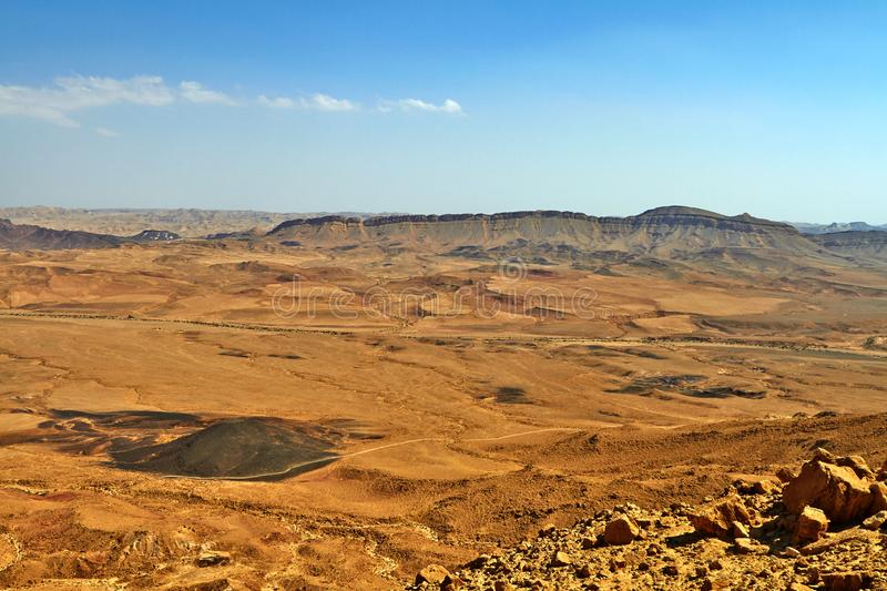 The Ramon Crater in Israel Negev Desert. Is the worlds largest erosion crater or makhtesh. September 2018 old building abu statue temple architecture monument stock photo