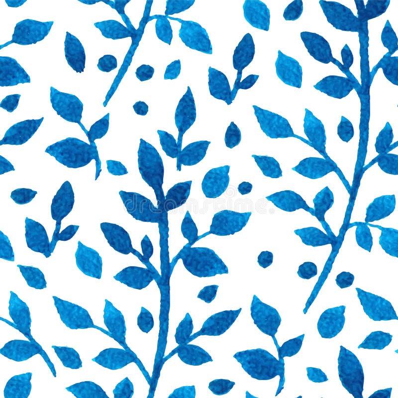 Ramos azuis da aquarela ilustração do vetor