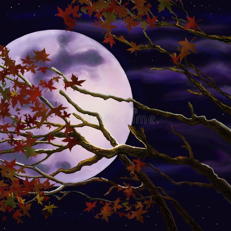 Ramos com folha do outono no fundo da lua da noite ilustração stock
