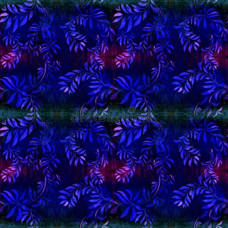Ramos com folhas - uma composição decorativa em um fundo da aquarela Teste padrão sem emenda Use materiais impressos, sinais, art ilustração stock