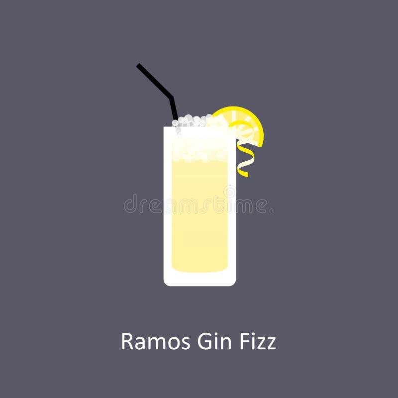 Ramos dżinu Fizz koktajlu ikona na ciemnym tle w mieszkanie stylu ilustracji