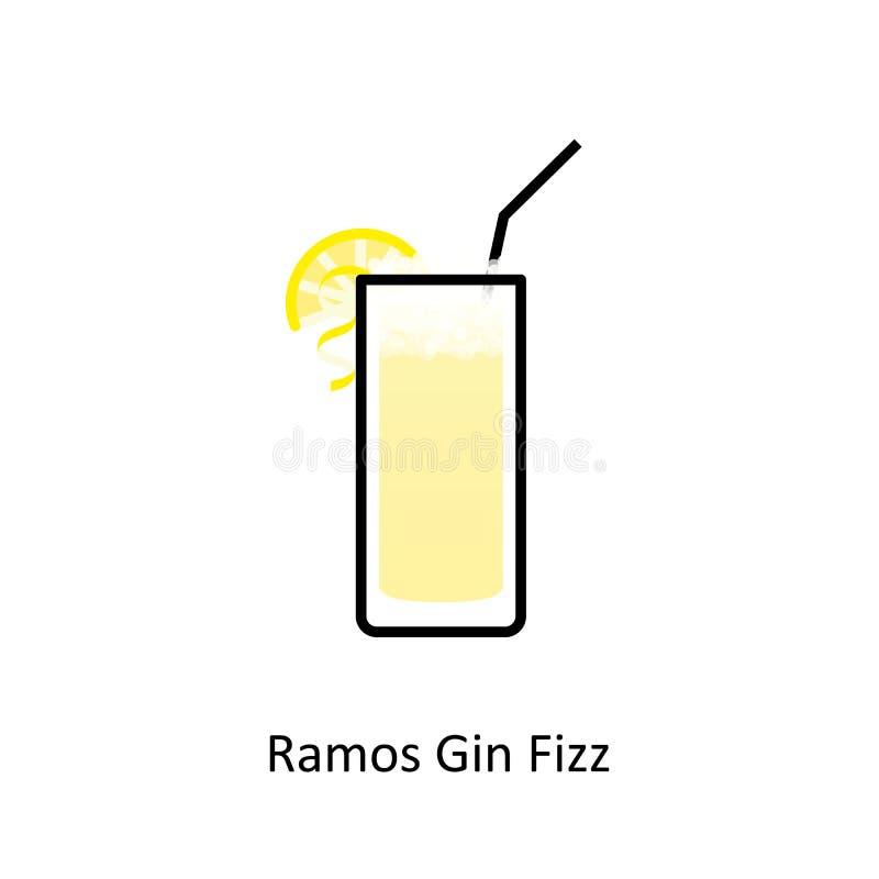 Ramos dżinu Fizz koktajlu ikona w mieszkanie stylu royalty ilustracja