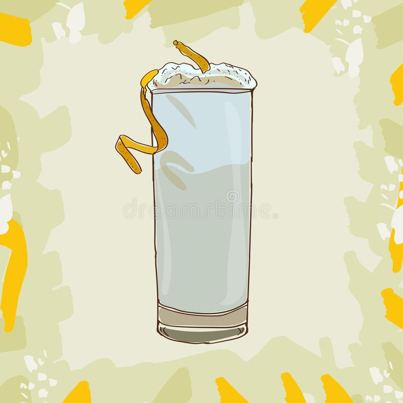 Ramos dżinu Fizz koktajlu ilustracja Alkoholiczka baru napoju ręka rysujący wektor Wystrzał sztuka ilustracja wektor