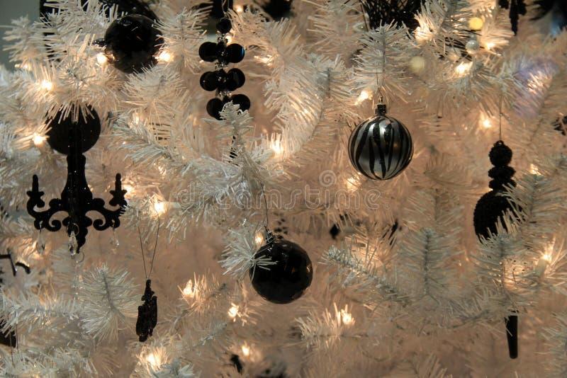 Ramos da árvore do White Christmas cobertos com o preto e os ornamento da prata imagem de stock royalty free
