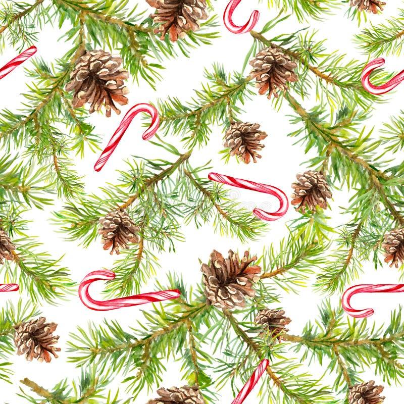 Ramos de árvore do Natal do pinho, bastão de doces Teste padrão sem emenda watercolor imagens de stock royalty free