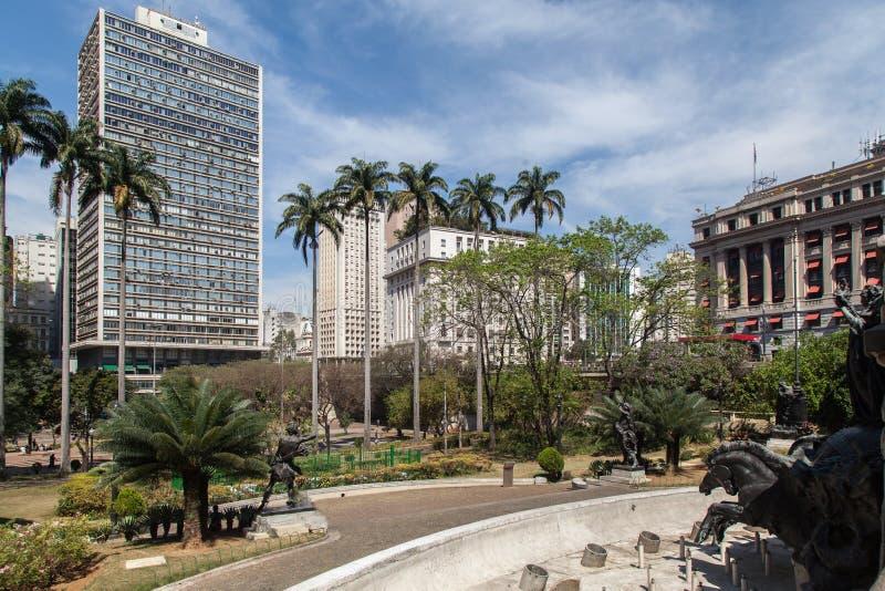 Ramos de Azevedo Plaza Sao Paulo Brasile immagini stock