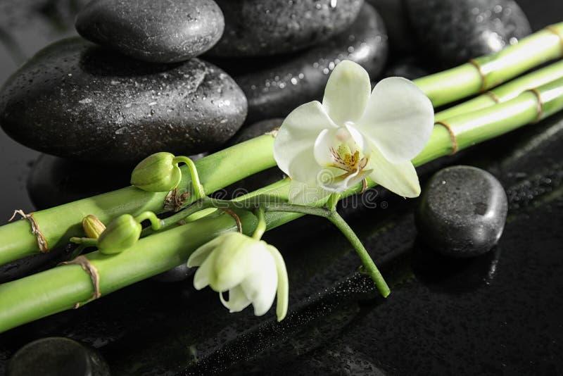 Ramos de bambu com pedras e orquídea dos termas foto de stock