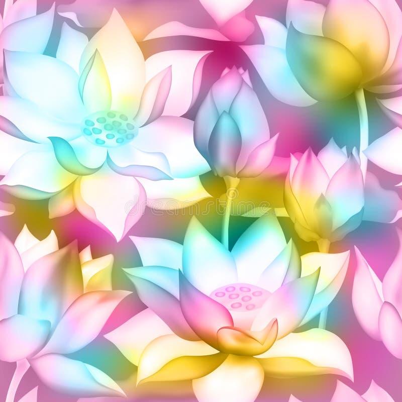 Ramos de la flor de Lotus con el modelo inconsútil de los brotes ilustración del vector