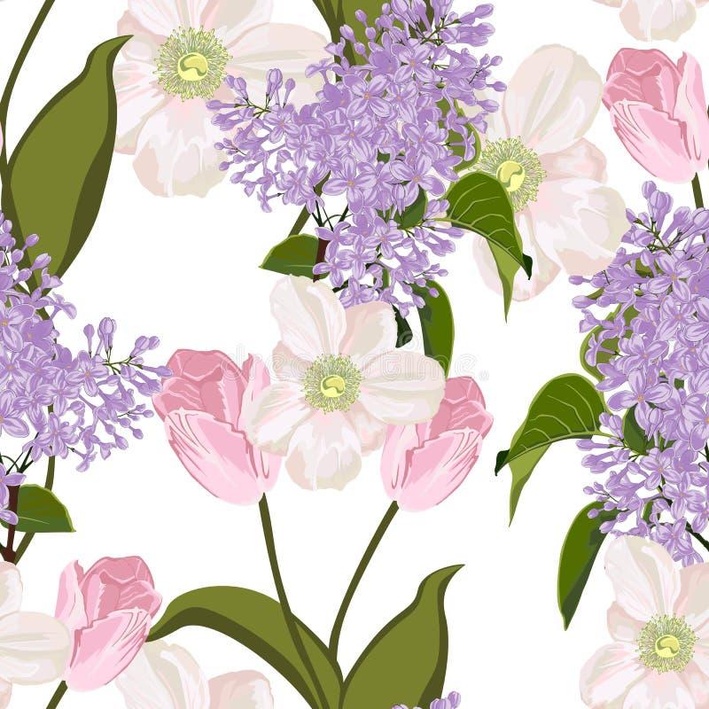 Ramos de la primavera en el fondo blanco Modelo inconsútil con las flores delicadas Anémonas, lila, tulipán stock de ilustración