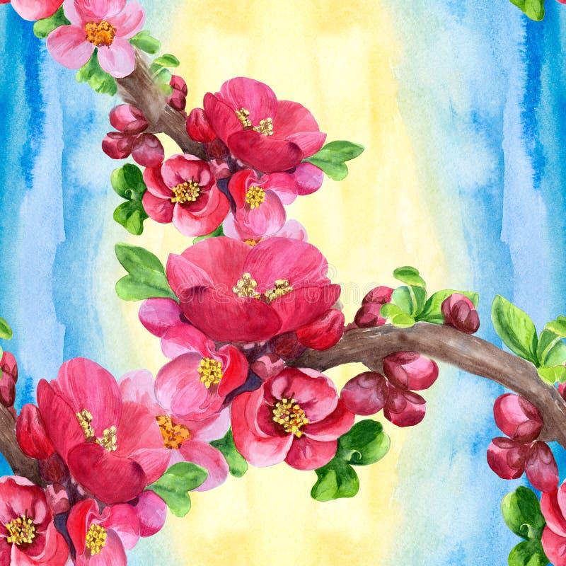 Ramos de uma árvore de florescência Teste padrão sem emenda wallpaper Use materiais impressos, sinais, cartazes, cartão, empacota ilustração stock