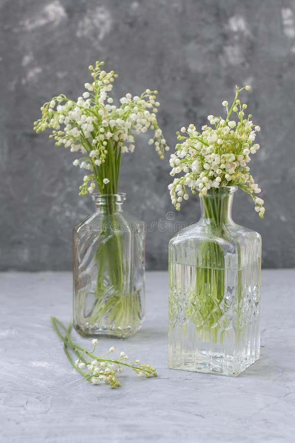Ramos de Wresh de lirios del valle en los floreros de cristal en el fondo gris fotos de archivo libres de regalías