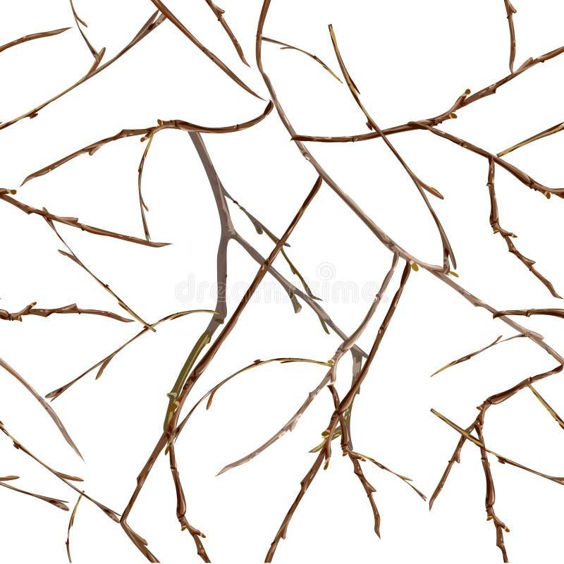 Ramos desencapados sem folhas Teste padrão sem emenda do outono atrasado ilustração royalty free