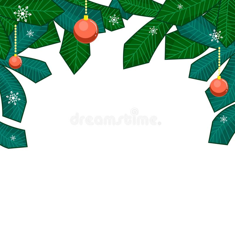 Ramos do Natal da árvore de Natal com bolas, e flocos de neve isolados no fundo branco ilustração stock