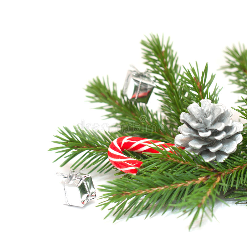 Ramos e decorações de árvore do Natal imagens de stock royalty free