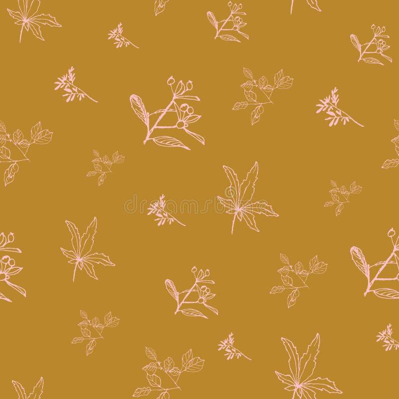 Ramos e flores cor-de-rosa tirados mão na repetição seameless do fundo amarelo da mostarda ilustração royalty free