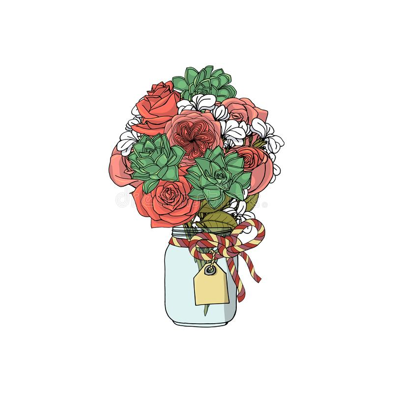 Ramos exhaustos del estilo del garabato de la mano de diversas flores: flor suculenta, color de rosa, común stock de ilustración