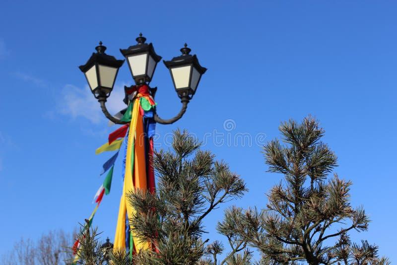 Ramos festivos da lanterna e do pinho imagem de stock