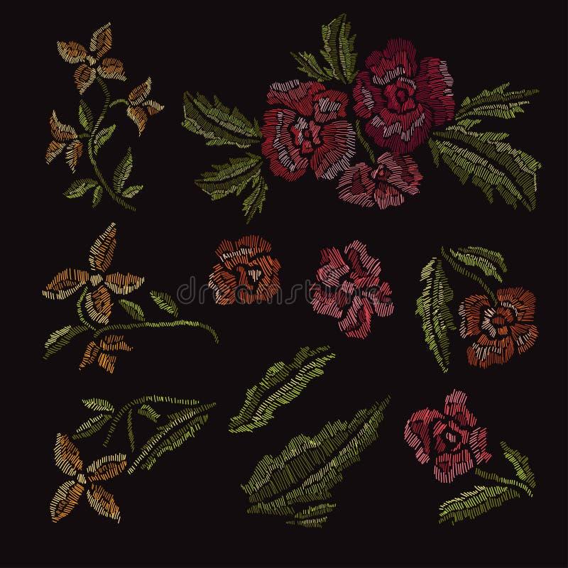 Ramos florales decorativos stock de ilustración