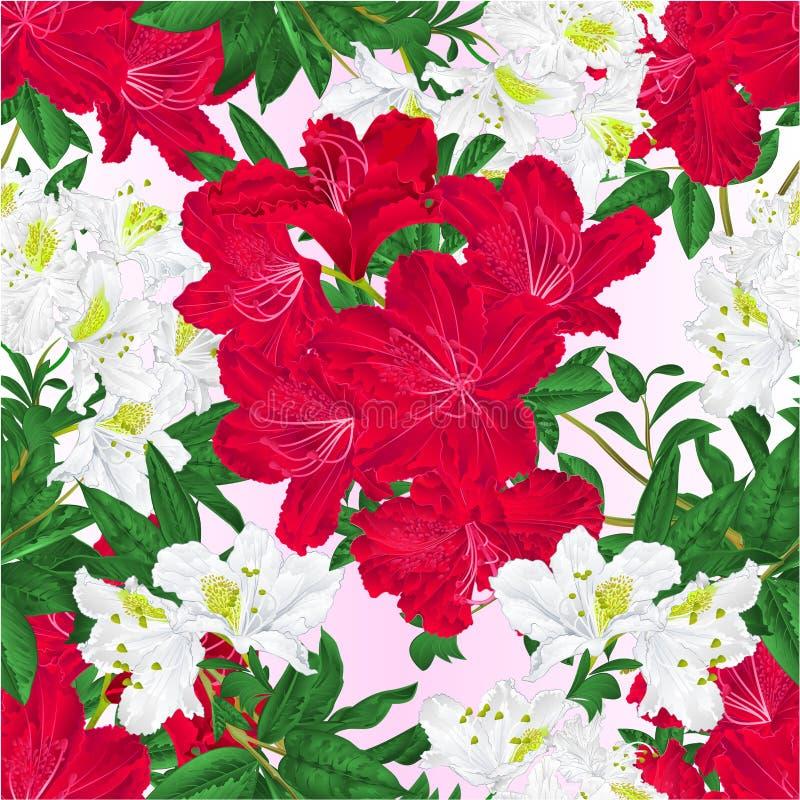 Ramos sem emenda da textura brancos e ilustração vermelha do vetor do vintage do fundo da natureza do arbusto da montanha dos r ilustração royalty free